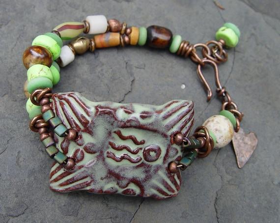 Shooting Star Bracelet Amulet - Terra Cotta Stoneware Beaded Bracelet