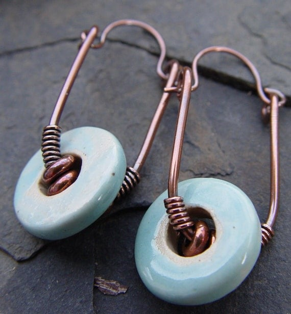 Reserved:  Steam Rollers II - Handmade Stoneware Beads on Copper Swing Earrings with Brass