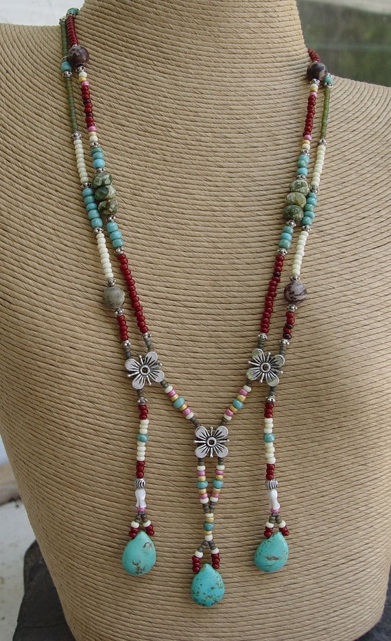 Apache Tears Turquoise Teardrops Glass And Silver Beaded