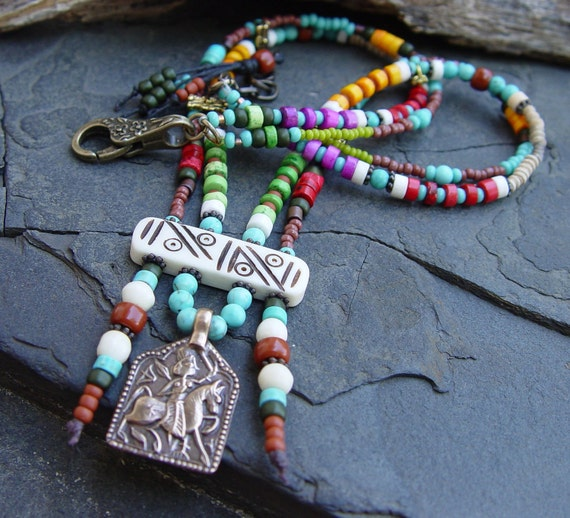 Ancient Horse Warrior Pewter Pendant, Bone, Howlite and Glass Bead Boho Bohemian Tribal Necklace