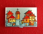 Card case hand painted metal red yellow