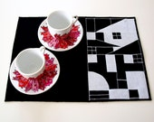 Placemats set handmade black white fabric sewed