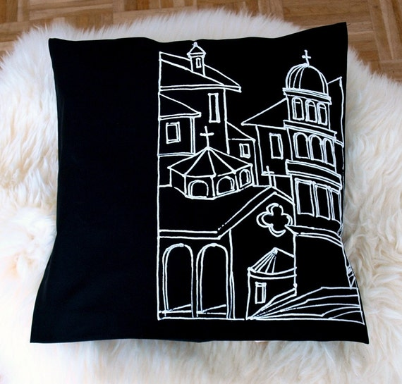 Hand painted graphic pillow cover pattern No 3