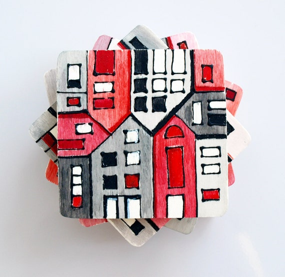 wood tile coasters hand painted red grey