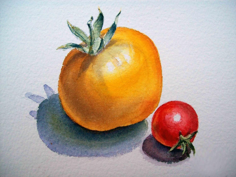 Original Art Tomatoes Painting Original Watercolor