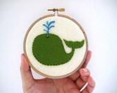 Nursery Hoop Art - Green Whale - Hand Embroidered Pure Wool Felt in 4 inch hoop