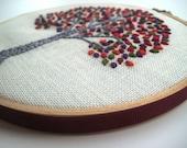 Autumn Tree - hand embroidered Hoop Art / Wall Wear in 6 inch wood hoop.  Jewel Tones
