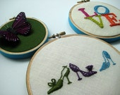 Shoes LOVE and Butterfly hoop art. hand embroidered.  home decor.  wall wear. handmade.  gift for her.  hand embroidery by mlmxoxo