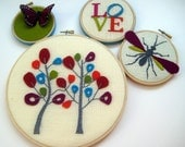 Trees in Bloom LOVE Butterfly & Wasp hand embroidered hoop art home decor wall decoration by mlmxoxo