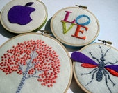 Tree LOVE Wasp Apple hand embroidered hoop art housewarming wedding gift by mlmxoxo