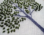 Tree hand embroidered hoop art wall decoration in spring green by mlmxoxo