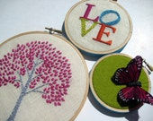 Tree. LOVE. Butterfly. hand embroidered. hoop art. home decor. wall wear. aqua. magenta. orange. citrine. nature. hand embroidery by mlmxoxo