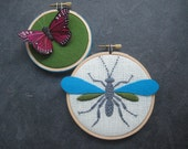 Wasp Butterfly hand embroidered hoop art home decor wall decoration aqua green purple by mlmxoxo