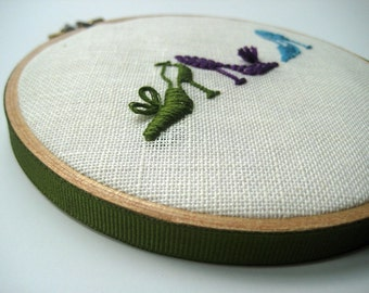 "Fancy Footwear by mlmxoxo.  hand embroidered shoes.  5"" hoop art.  unique gift for the fashionista in your life.  green.  purple.  aqua."