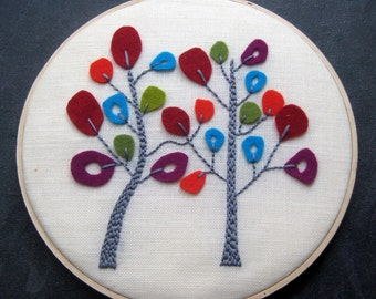Trees in Bloom. hand embroidered. wool felt. hoop art. home decor. housewarming gift. wedding gift. wall wear. handmade embroidery. mlmxoxo