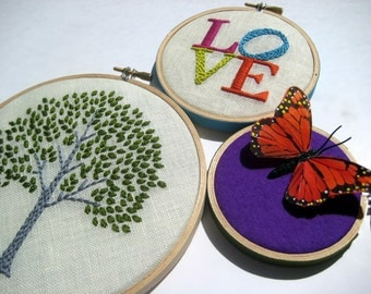 Tree. Love. Butterfly. hand embroidered. hoop art. home decor. wall wear. housewarming gift. wedding gift. nursery. embroidery by mlmxoxo