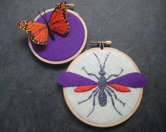 Wasp and Butterfly hand embroidered hoop art home decor wall decoration purple orange by mlmxoxo