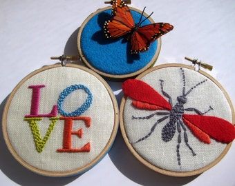 LOVE Wasp and Butterfly hand embroidered hoop art home decor wall decoration by mlmxoxo