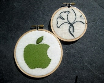 Apple Ginkgo hand embroidered hoop art home decor office cubicle graduation gift by mlmxoxo