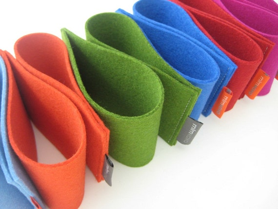 2 Coffee Cup Sleeves, wool felt, cup cozy, eco-friendly, resusable, magenta, red, orange, Yale blue, green, sky blue, charcoal gray, steel