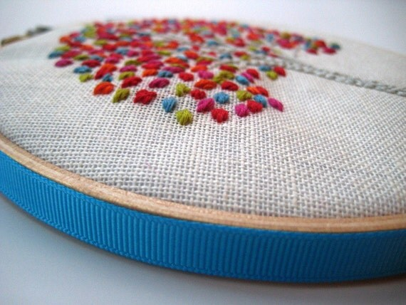 Summer Tree - Hand Embroidered Wall Wear in 6 inch wood hoop.  Red, Aqua, Magenta, Citrine & Orange