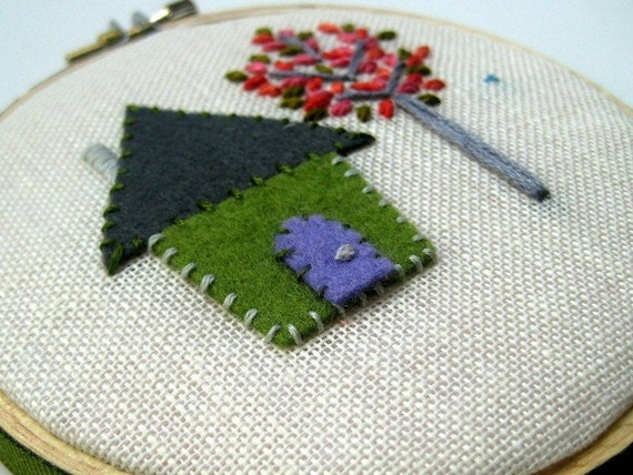 Our House - hand embroidered Hoop Art / Wall Wear in 4 inch wood hoop.  Green, Slate, Pink & Coral