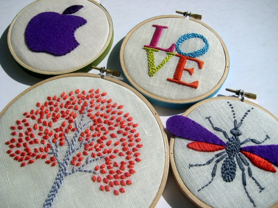 Items similar to tree love wasp apple hand embroidered