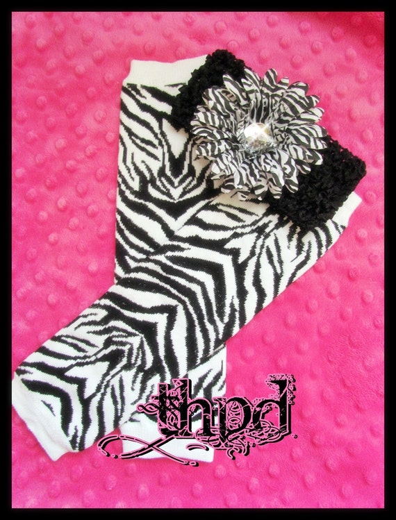 Black And White ZEBRA Print Baby Toddler Leg Warmers / Great for New Crawlers and Walkers / Fall and WInter / READY to Ship