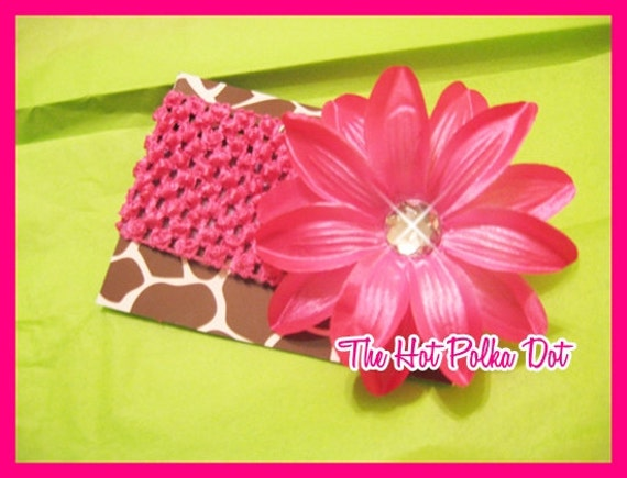 SALE - HOT Pink - Tropical Lily Hair Flower Clip with Hot Pink Crochet Headband  - Fits Babies to Older Girls
