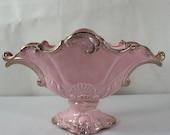 vintage 1950's hollywood regency pink n gold scalloped USA  table vase