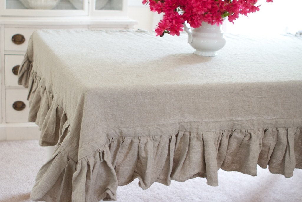 Single Ruffled Linen Tablecloth White Cream Oatmeal Or