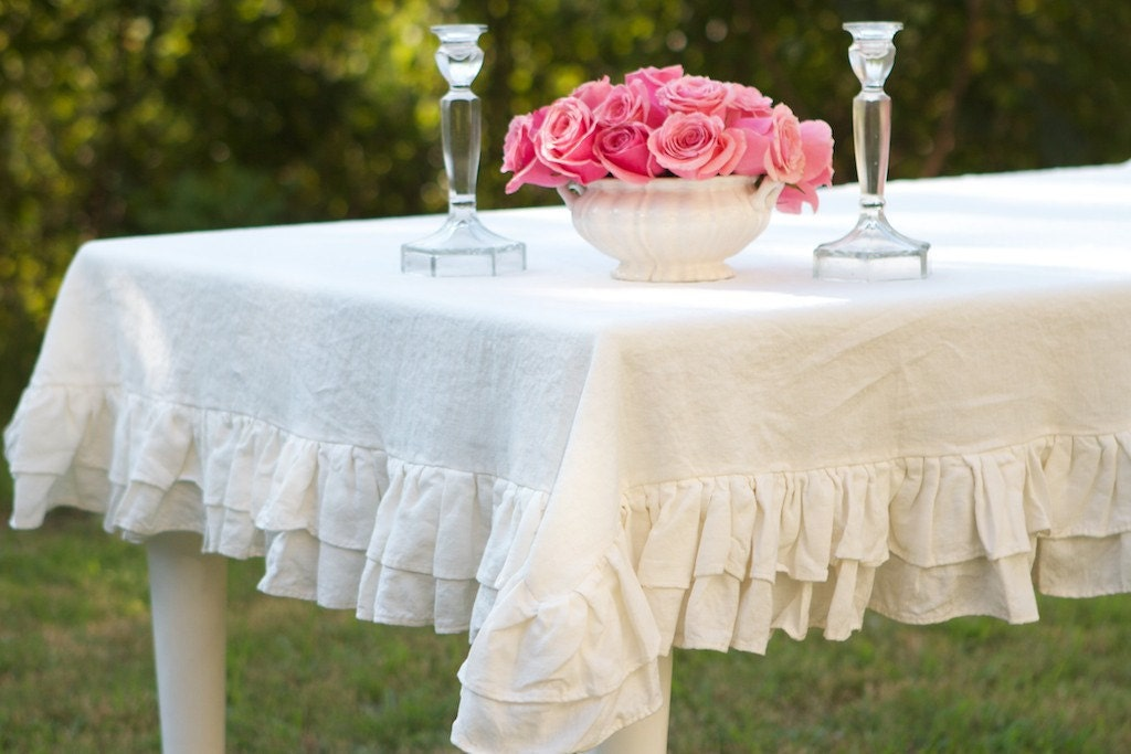 60x120 Double Ruffle Linen Tablecloth Ruffled Tablecloth