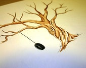 Wedding Guest Book Tree fingerprint tree handpainted custom rustic wide branches