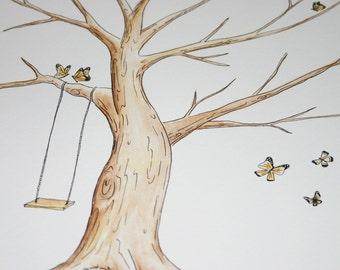 Wedding Guest book Thumb Print Tree. Original Water Color Illustration butterflies ADD-ON