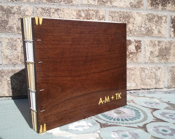 Wood Cover Cookbook : Custom hand bound guest book with wood covers album