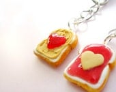 Peanut Butter and Jelly Best Friends Key Chains BFF - Kawaii Cute Heart Key Chains - Polymer Clay Food