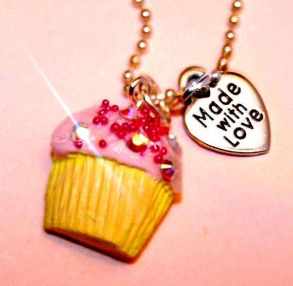 Yummy Pink Mini Cupcake Necklace with Swarovski Crystals