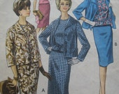 """SALE Vintage 1950's/60's All Occasion Suit. Fitted sleeveless blouse/top, jacket and slim Skirt. Bust 34"""""""