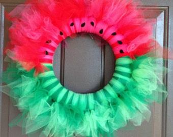 Watermelon Wreath, wreath, tutu wreath, door wreath, home decor, summer, summer wreath, watermelon, tutu