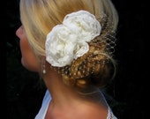 Isla - Ivory Chiffon Floral Fascinator with French / Russian Tulle