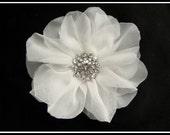 Luna bridal hair flower Chiffon Flower with a Pearl or Rhinestone center