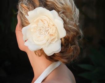 Adele bridal hair flower, Vintage ivory/creme or white silk rose hair flower, bridal hair accessories,