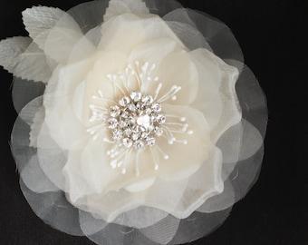 Fiona bridal hair flower, wedding hair flower, bridal fascinator, Silk and Organdy vintage bridal hair flower