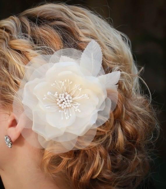 Fiona bridal hair flower, bridal fascinator, Silk and Organdy vintage bridal hair flower