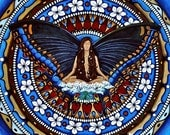 Reserved For studioK8 - Butterfly Mandala Print - Mounted On Wood