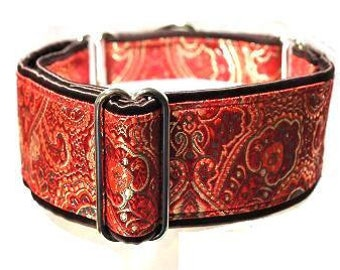 "Martingale Collar: Red and Gold Brocade on Dark Chocolate (1.5"" & 2""), Dog Collar, Greyhound Collar, Custom Dog Collars"