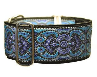 Martingale Collar or Buckle Dog Collar - Marseilles Jacquard in Purple & Blue - 2 Inch, Greyhound Collar, Great Dane Collar, Custom Collar