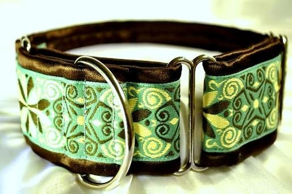 Chocolate and Teal Jacquard Martingale Collar - 2 Inch