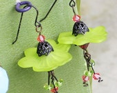 Clearance Sale - Green and Rose Flower Earrings - Victorian Lucite Flowers in Antique Black Brass