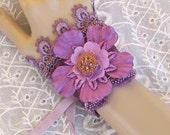 Victorian Lace Wrist Cuff - Purple Flower Wrist Cuff, Lace Fabric Cuff Bracelet, Mixed Media Upcycled Jewlery